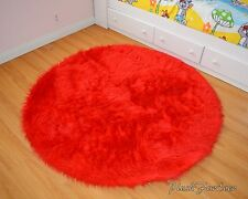 bright red 5' round area rug faux fur throw rug acrylics nonslip suede backing