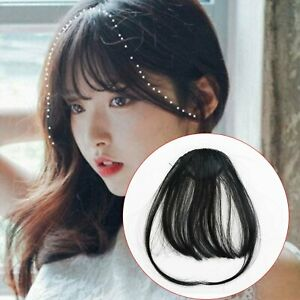 Thin Neat Air Bangs Remy Hair Extensions Clip in on Fringe Front Hairpiece US