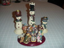 Snow Family Candle Holders, Set Of 3 New In Box Plus A 11 Piece Nativity Bonus.