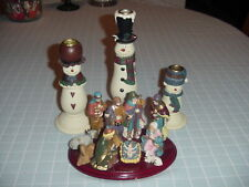 Snow Family Candle Holders, Set Of 3 New In Box Plus A 11 Piece Nativity.