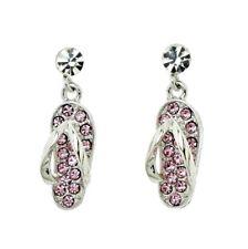 Flip Flop SANDAL Beach Made With Swarovski Crystal Pink Stud Post Earrings Gift