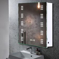 Wall Mounted LED Illuminated Mirror Cabinet Bathroom Storage Unit + Clock Socket