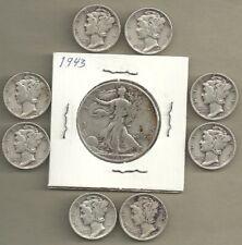 New ListingWalking Liberty Half & Mercury Dimes - 90% Silver - Us Coin Lot - 9 Coins #4573