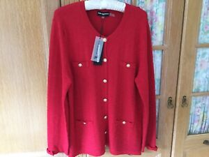 KARL LAGERFELD New Cardigan Long Style Uk Size 18/20 Red With Gold Buttons BNWT