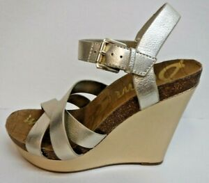 Sam Edelman Size 9.5 Gold Leather Wedge Heels New Womens Shoes
