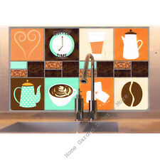 "COFFEE Cafe Kitchen Tile Foil Backsplash Mural Wall Art Decal 29.5"" Peel Stick"