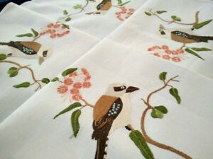 L@@K RARE Tablecloth Australian Kookaburras & Flowering Gum   Hand Embroidered