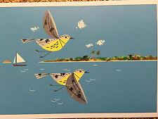 Charley Charles Harper Kirtland's Warblers Art print new warbler Jack pine water