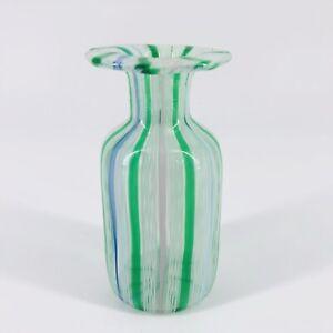 """Vtg Murano Art Glass Perfume No Stopper Bottle Green Latticino Stripes 3.25"""""""