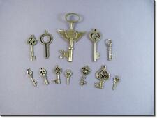 MIXED KEY Charms Antique Bronze Plated Pendant Jewellery Findings. Pack of 12.