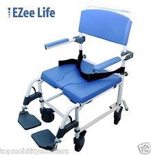 "Aluminum Shower Commode Chair Lightweight Adjustable Bath 20"" Wide Seat 300 lbs."