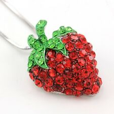Green Leaf Red Strawberry Berry Fruit Pendant Necklace Charm Silver Tone Jewelry