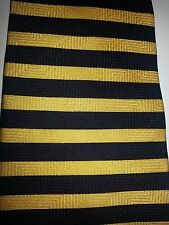 Raphael 100% Silk Yellow Navy Stripe Tie Classic (57 in.-60 in.)