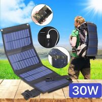 30W Folding Solar Panel Dual USB Phone Battery Charger Power Bank Camping Hiking