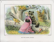 "1972 Vintage Currier & Ives TEDDY BEAR ""HUG ME CLOSER, GEORGE!"" COLOR Lithograph"