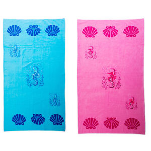 Beach Towel Large Cotton Summer Swimming Pool Towels Blue Pink Seahorse Kids