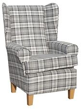 FIRESIDE WING BACK COTTAGE CHAIR LUXURY GREY CHECK FABRIC