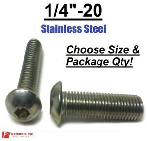 1/4-20 Button Head Socket Cap Screws Allen Bolts Hex Drive Stainless Steel 18-8