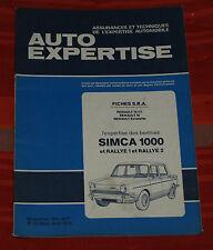 RTA Auto Expertise  Simca 1000 , Rallye 1 et Rallye 2