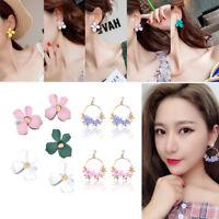 New 2018 Korean Style Metal Flower Crystal Pearl Stud Women Dangle Hoop Earrings
