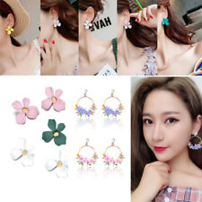 New 2018 Korean Style Metal Flower Crystal Pearl Stud Women Dangle Hoop Earrings