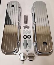 BBC Big Block Chevy Tall Chrome Valve Covers Ball Milled Aluminum 396 W/Breather