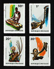 20c-1f, RWANDA 'African Musical Instruments' Stamps set of 4, issued 1973 - MNH