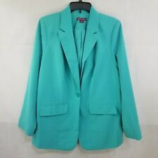 Jessica London Size 14 Turquoise Blue Lined Blazer Jacket