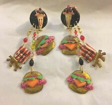 Rare LUNCH AT THE RITZ Enamel Crystal Earrings Hamburger French Fries Milk Shake