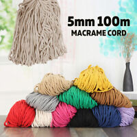 5mm 100m Macrame Rustic Rope Colorful Cotton Twisted Cord String DIY Hand