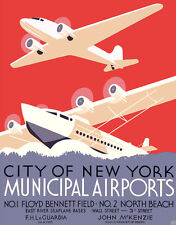 Cool Retro Travel Poster *FRAMED* CANVAS ART New York Airports 18x12""