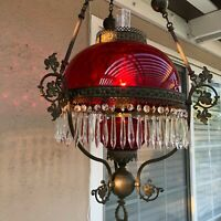 """VTG Victorian Hanging Library Oil Lamp w/Ruby Red Glass Shade, 59 Prisms, 38"""" H"""