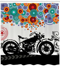 Motorcycle Abstract Circle Shapes Pattern Modern Art Print Shower Curtain Set
