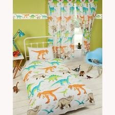 "DINOSAUR WORLD SINGLE DUVET COVER SET + MATCHING FULLY LINED CURTAINS 54"" NEW"