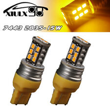 2x Amber/Yellow 7443 7440 High Power 15W Non-Polarity LED Turn Signal Light Bulb