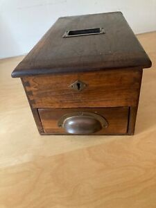Edwardian Antique Wooden Shop Counter Cash Register / Till With Bell
