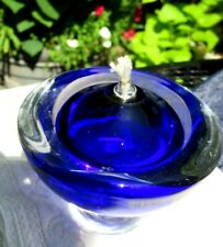 """Cobalt Blue-Clear Art-Glass Oil-Candle Signed 2007 Flawless 3.75"""" Tall"""