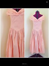 Sizzling Summer Off The Shoulder Cotton Handmade Vintage Party Sun Dress Peach