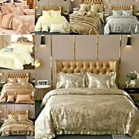 5 Piece Jacquard Bedspread Duvet Cover Comforter Bed Throw Pillows Cushions New