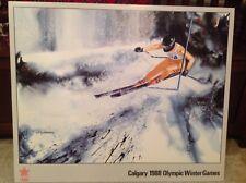 XV 1988 Calgary Canada Olympics Official Poster Alpine-Slalom-Downhill-Foam Core