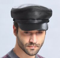 Men's Women's Genuine Leather Beret Cap Golf Driving Military Cadet Newsboy  #