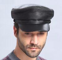 Men's Women's Genuine Leather Beret Cap Golf Driving Military Cadet Newsboy Hat