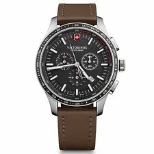 Victorinox Alliance Quartz Black Dial Brown Leather Strap Men's Watch 241826
