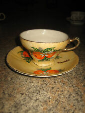 VINTAGE PORCELAIN FLORIDA ORANGES SOUVENIR TEA CUP AND SAUCER~ MADE IN JAPAN