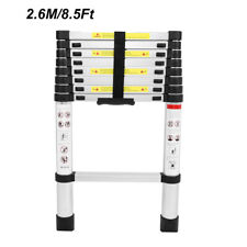 2.6M / 8.5Ft Telescoping Extension Ladder Aluminum  Foldable Long Extend