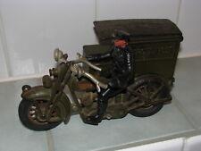 """Rare Original Antique 10"""" Hubley Cast Iron Harley Davidson Parcel Post Side Car"""