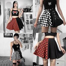 High Waist Pleated Women Mini Black Plaid Pleated Skirt Punk Rock Gothic Skirts