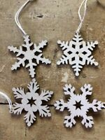 24  MINI Snowflake Ornaments Laser-Cut Natural Wood Decoration Art Craft Shapes
