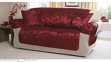 PRIMROSE RED 3 SEATER QUILTED SOFA THROW PROTECTOR FLORAL JACQUARD WINE BERRY