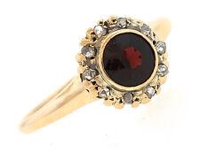 Lovely Ladies Antique Victorian 14K Rose Gold Garnet Rose-Cut Diamond Ring